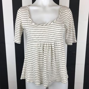 5 for $25 J. Crew Taupe Striped Flowy Top